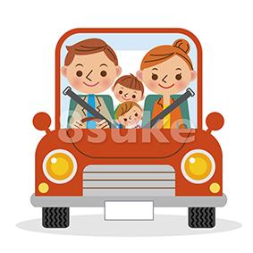 イラスト素材:マイカーでドライブを楽しむ4人家族(ベクター・JPG)