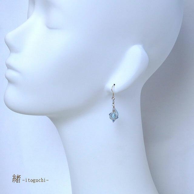 【アパタイト&水晶】絹糸のマクラメピアス