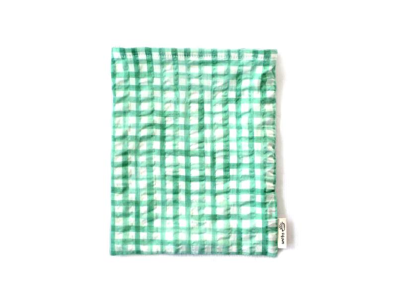 ハリネズミ用寝袋 M(夏用) 綿リップル×スムースニット チェック グリーン