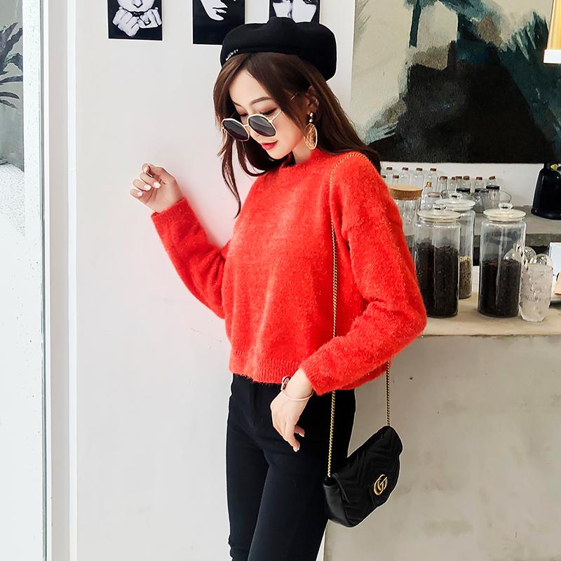 ラメニット ショート丈 赤い セーター 長袖 フラッシュ