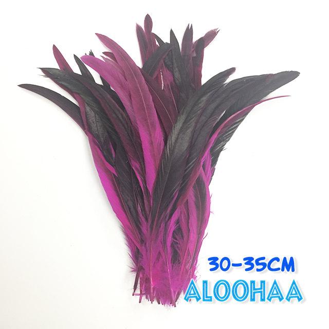 ロングフェザー 【ピンク】30~35cm タヒチアン 衣装 材料 ルースターテール 染め 羽根