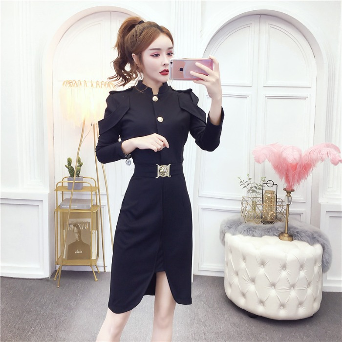 【dress】スタンドネックファッション着痩せデートワンピース25386626