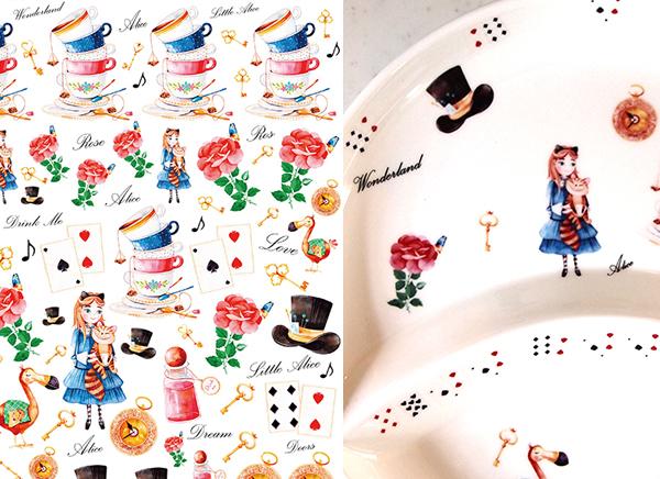水彩 ワンダーランドコレクション アリス wonderland collection A4 (ポーセリンアート用転写紙)