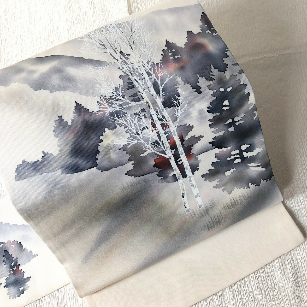 【塩瀬】9寸名古屋帯 お太鼓柄オフホワイト白樺に林爽やかさ漂う作家物