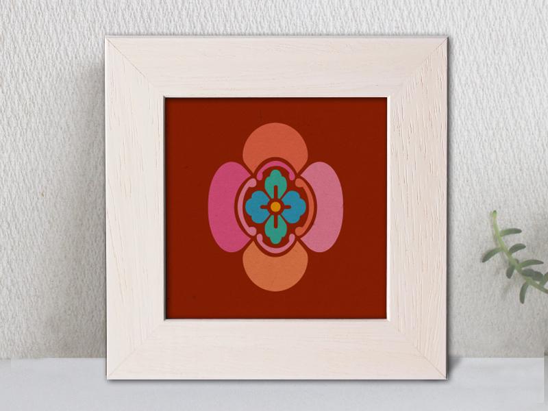 「竪木瓜」家紋アートフレーム カラフル 家紋額縁 リビングルームに合う家紋 敬老の日、初節句 結婚、出産、新築祝いに