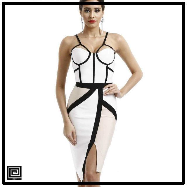 バンデージカラーブロックドレス