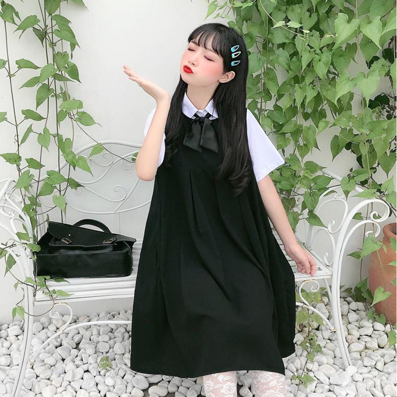【送料無料】ガーリーな制服風 ♡ リボン付き シャツ × ジャンパースカート Aライン プリーツ ワンピース