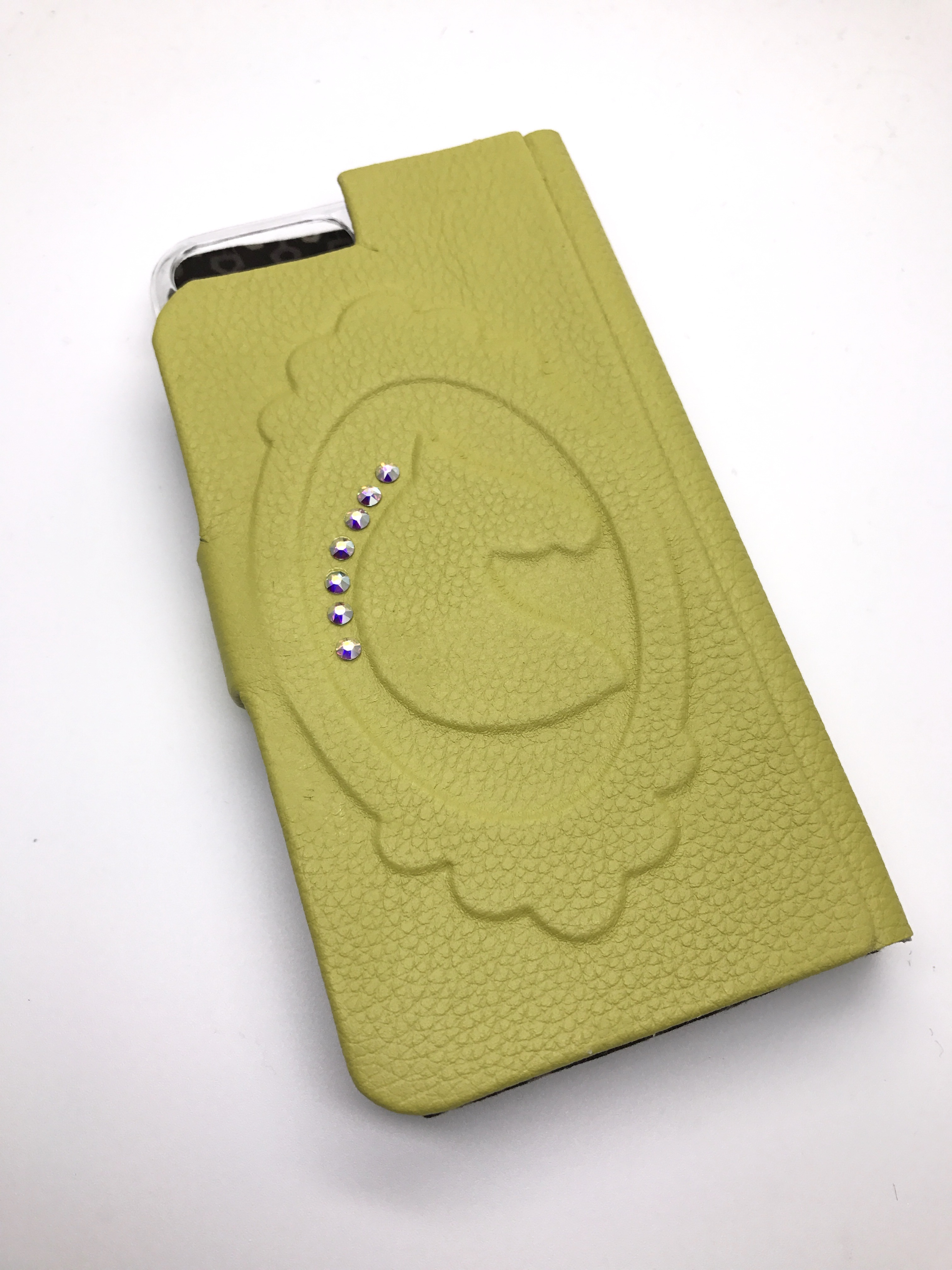 ドレッサージュホース本革iPhoneケース シャトルーズグリーン色
