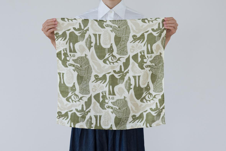 【十布】正方形のダブルガーゼM/森の住人(グリーン)