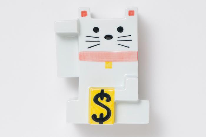 カクカク招き猫 色付 小 / The Porcelains