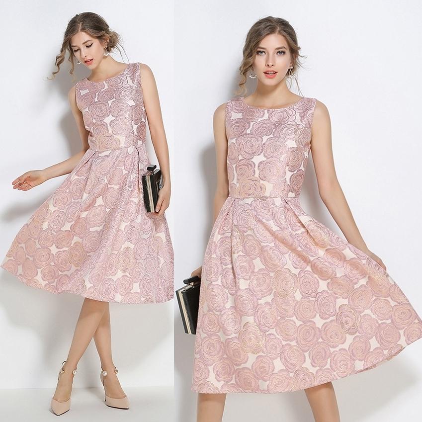 フォーマルドレス パーティードレス エレガントワンピース ローズ模様 花柄 ピンク ノースリーブ ひざ丈 フレア