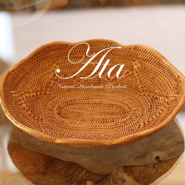 アタ製 細工編みと花びらのようなフチが可愛い 飾り皿 A16 (かご、トレイ、小物入れ、お菓子入れ)