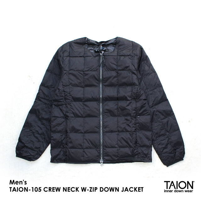 Men's / TAION-105 CREW NECK W-ZIP DOWN JACKET / BLACK