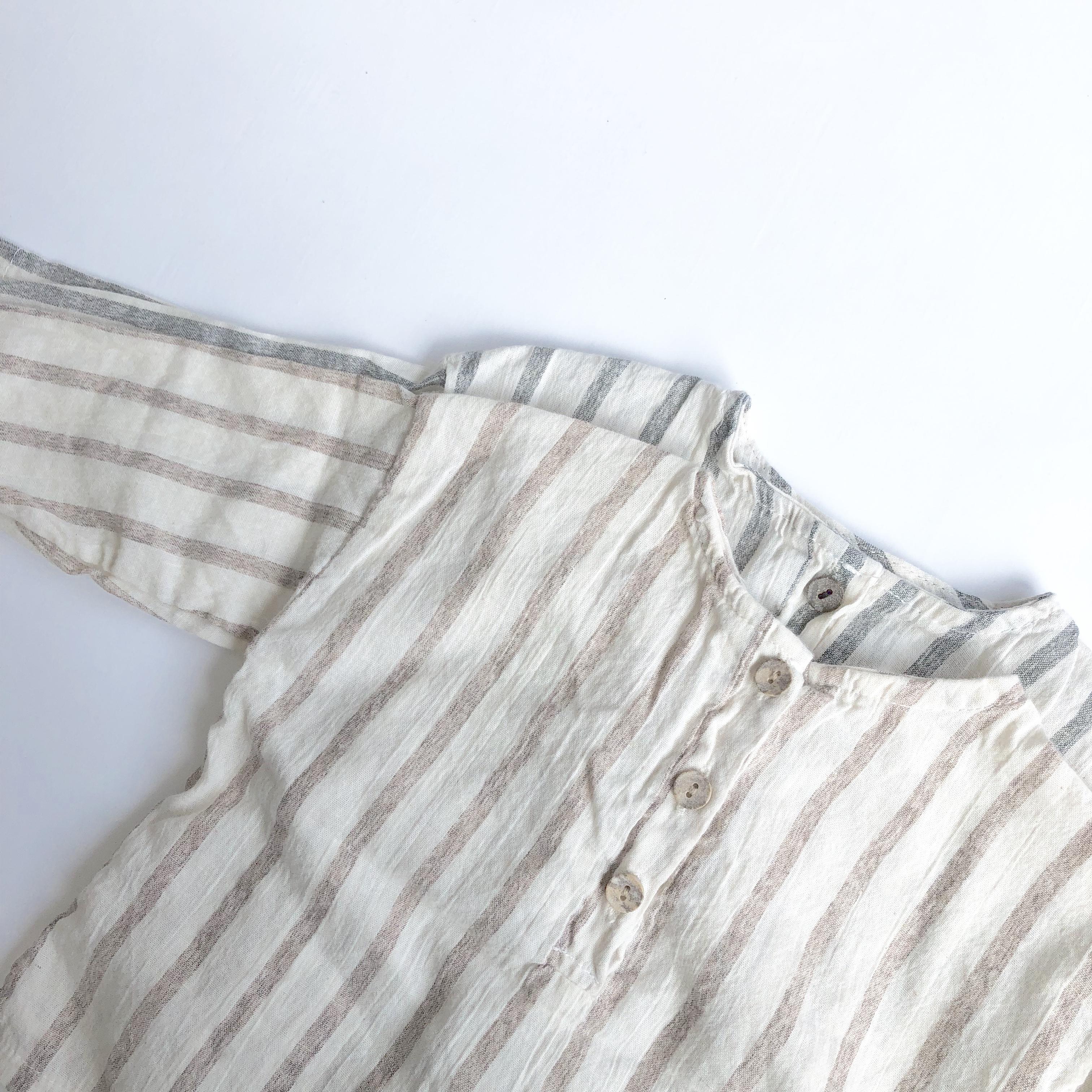《 172 》No collar ストライプシャツ