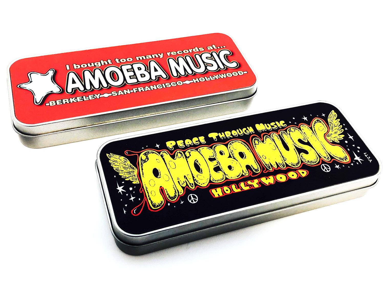 品番0198 Amoeba Music アメーバミュージック 缶ペンケース 筆箱 レッド/ブラック アメリカン雑貨 新品雑貨