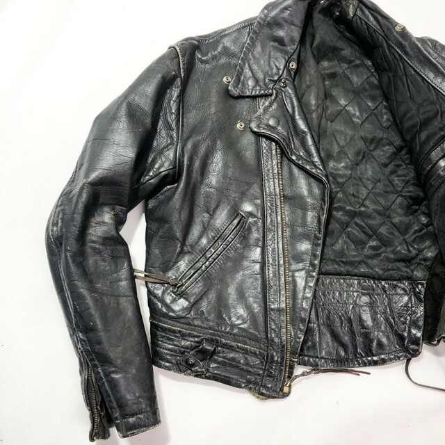 60's caw leather double riders jacket