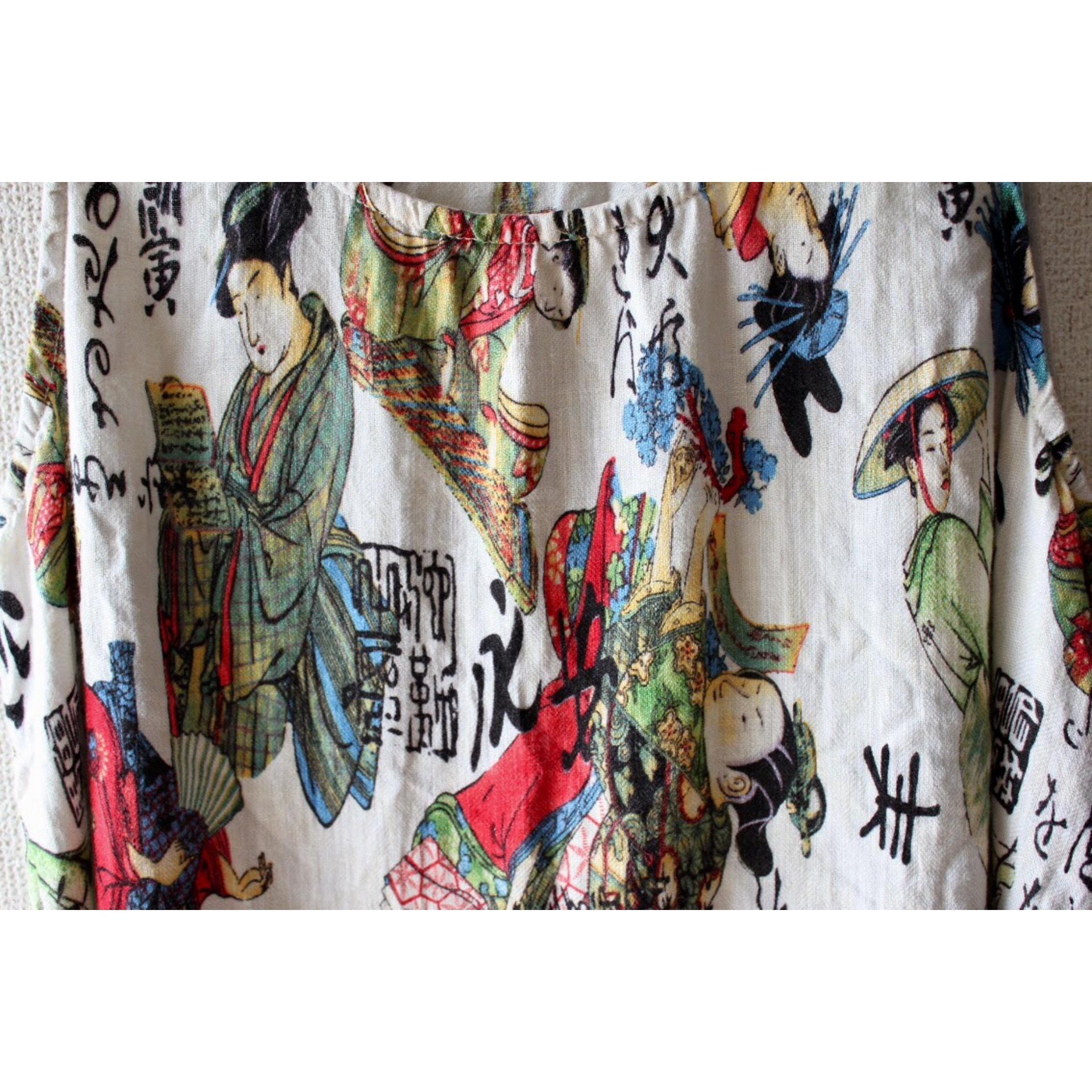 Vintage japanese pattern linen tops