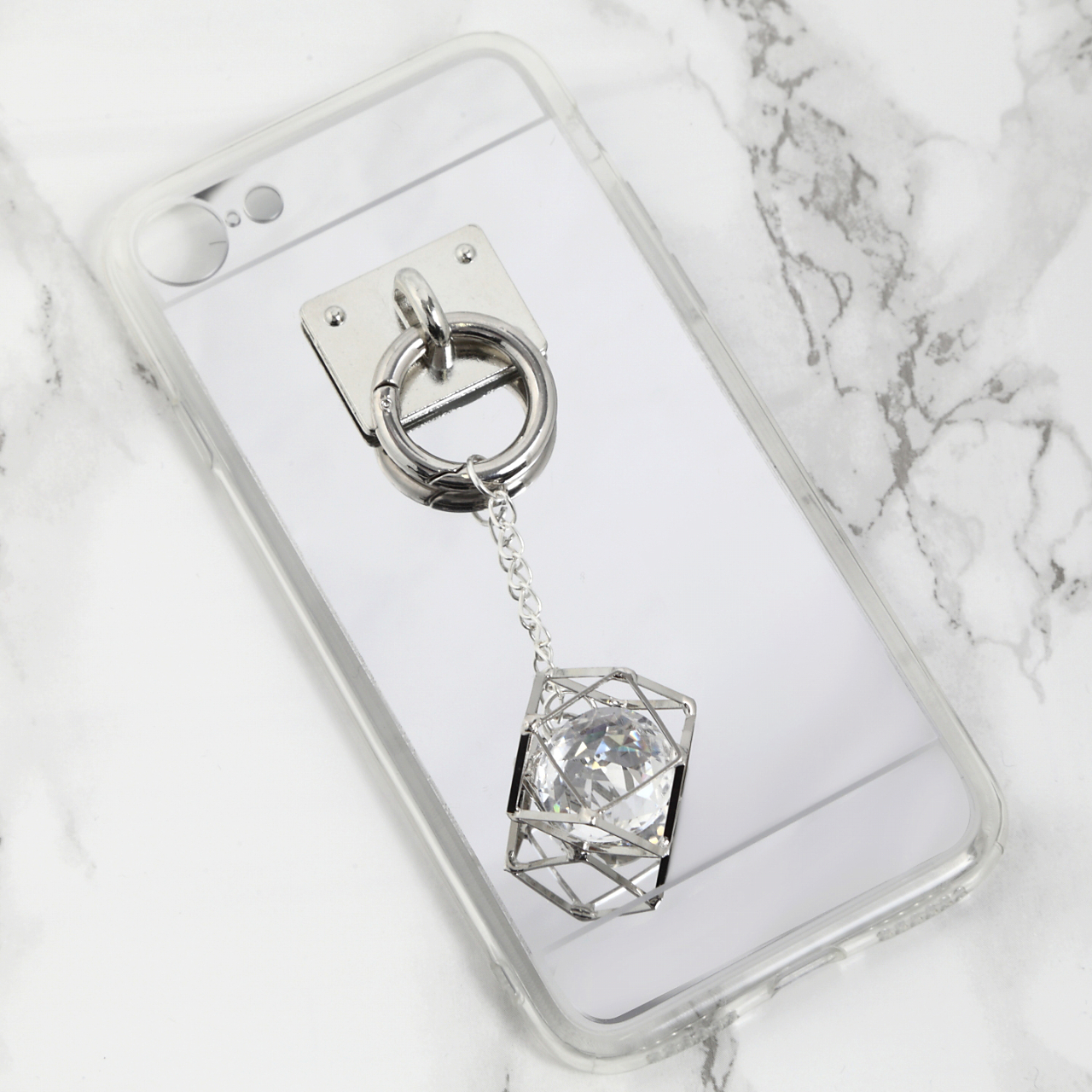【送料無料】ミラーソフトケース&キラキラシルバーチャーム iPhoneケース