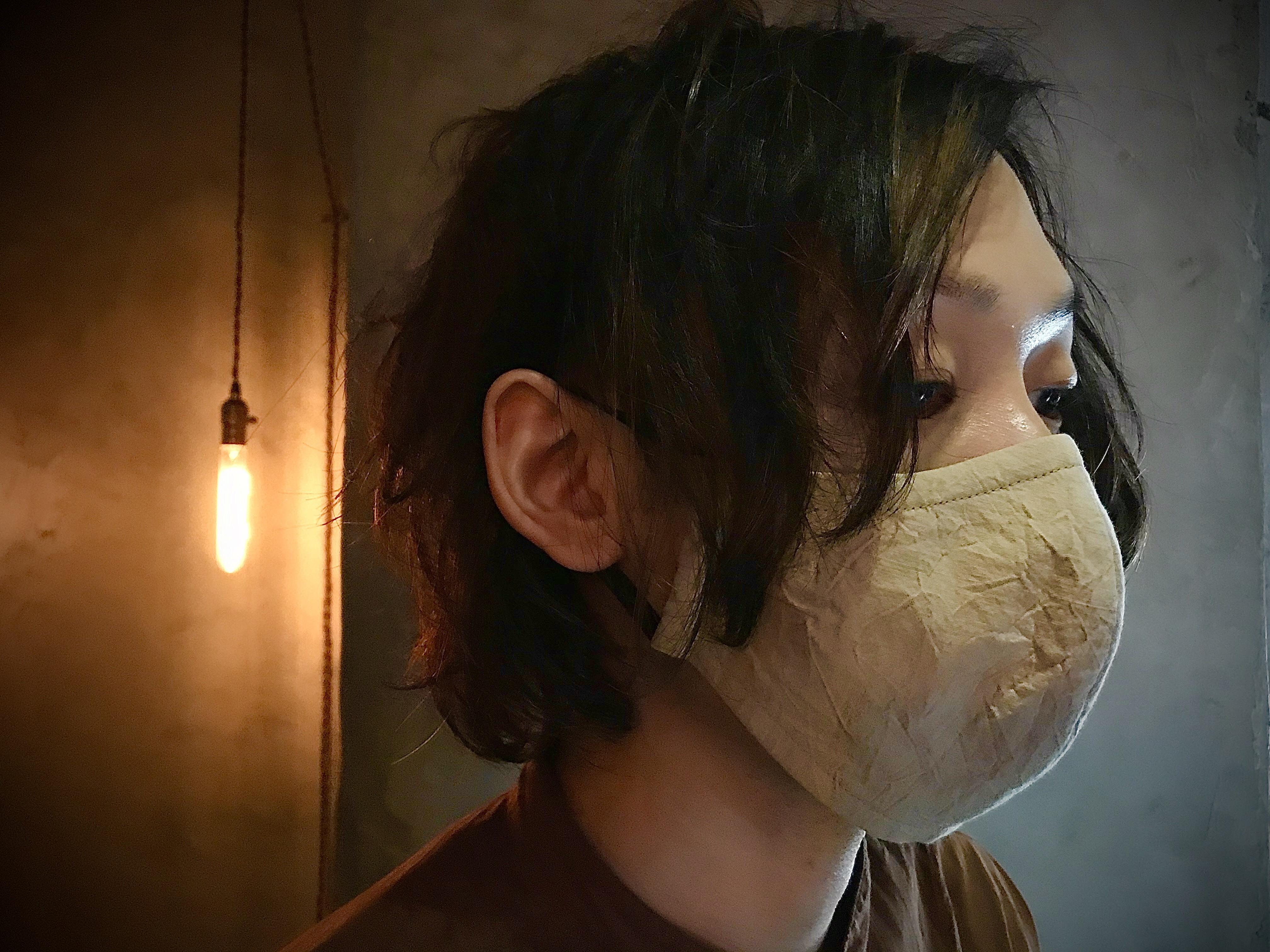 コーヒー染めの布マスク