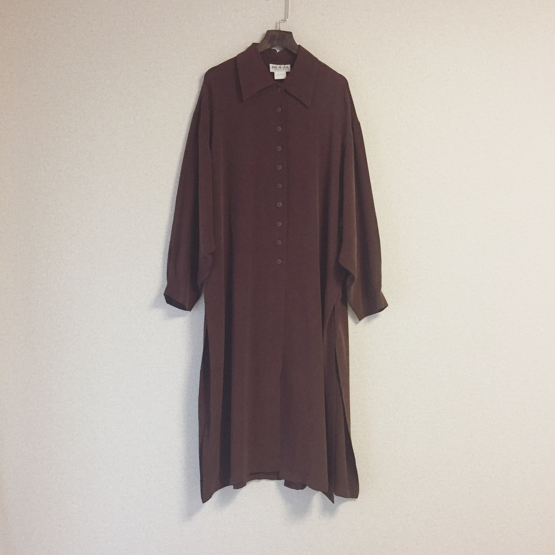 vintage silk brown dress