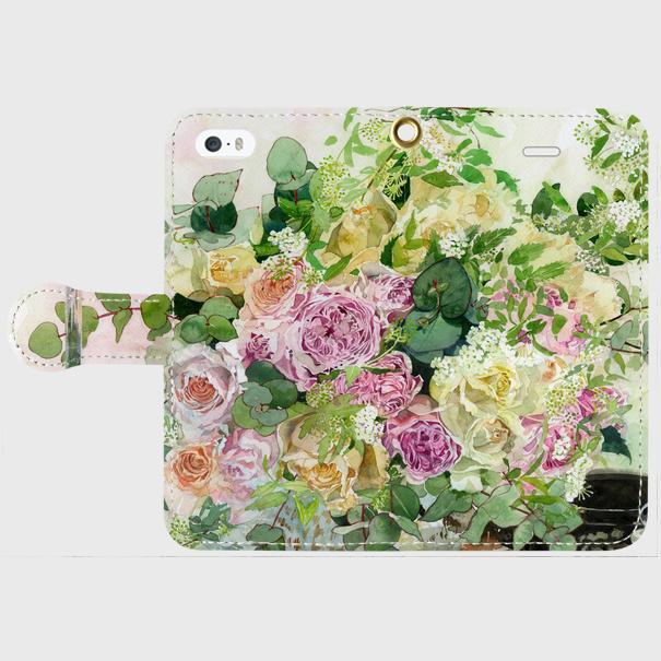 和バラとツマキチョウ 手帳型スマホケース iPhone5/5s/SE