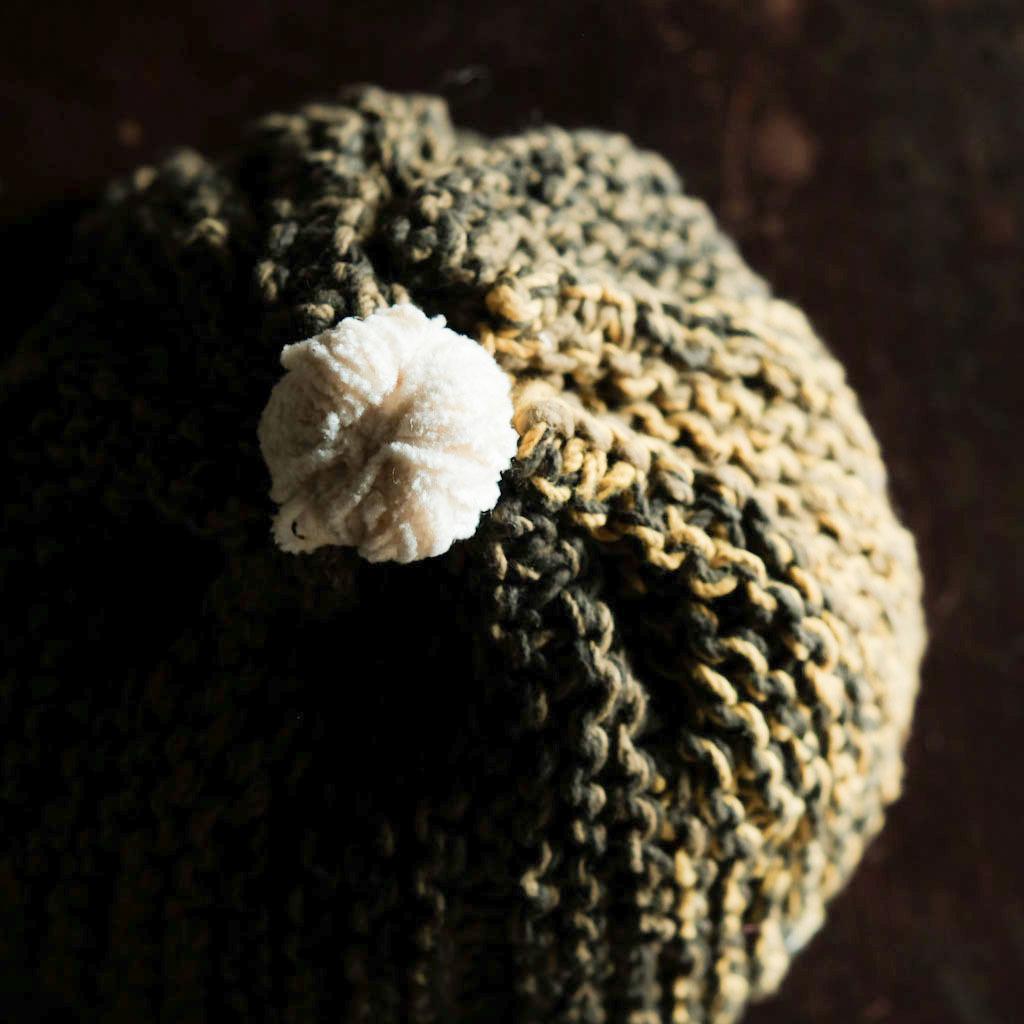 primitive knit 『苔むす森の木霊』 オーガニックコットン 草木染め 手紡ぎ糸