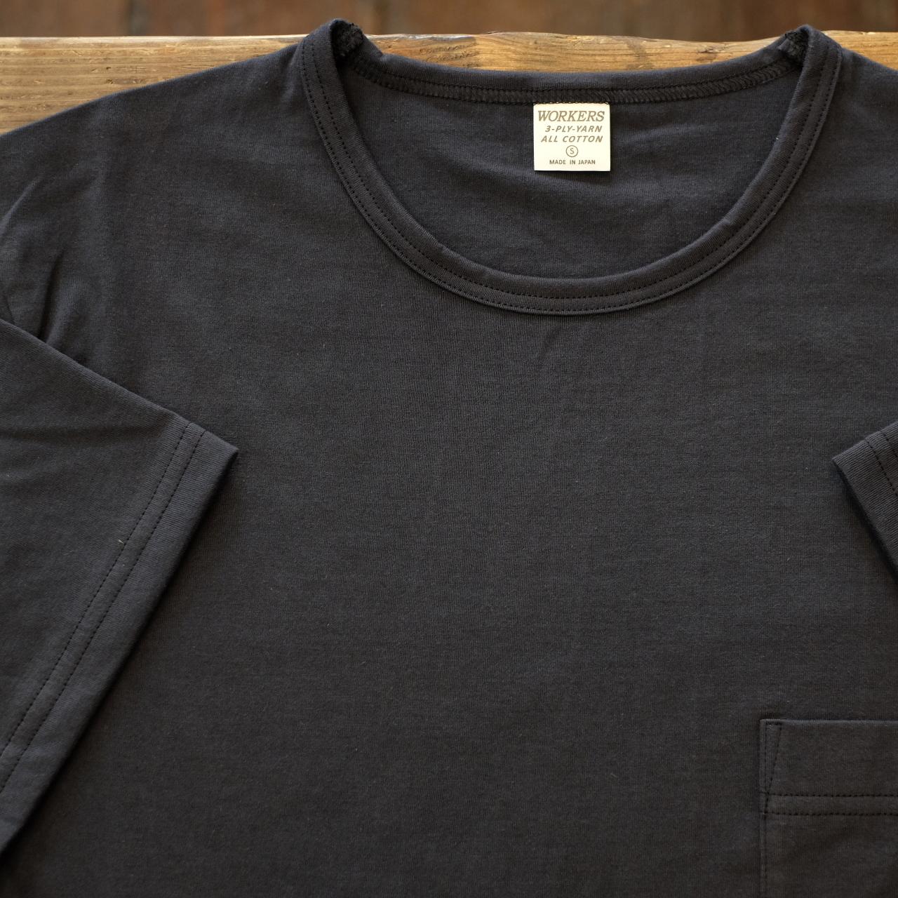 Workers(ワーカーズ) 別注 3PLYスリム ポケットTシャツ フェードブラック