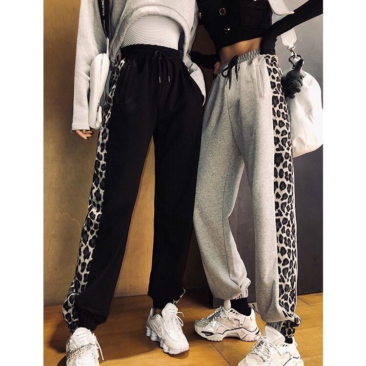 side leopard sweat pants