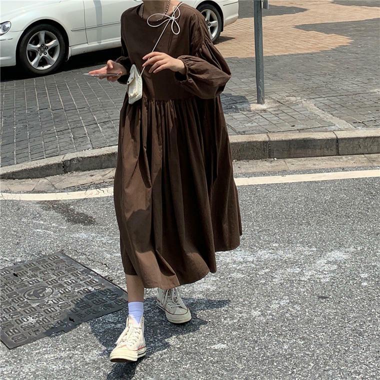 【送料無料】秋ワンピ ♡ ふんわり Aライン ギャザー ボリューム袖 ロング ワンピース