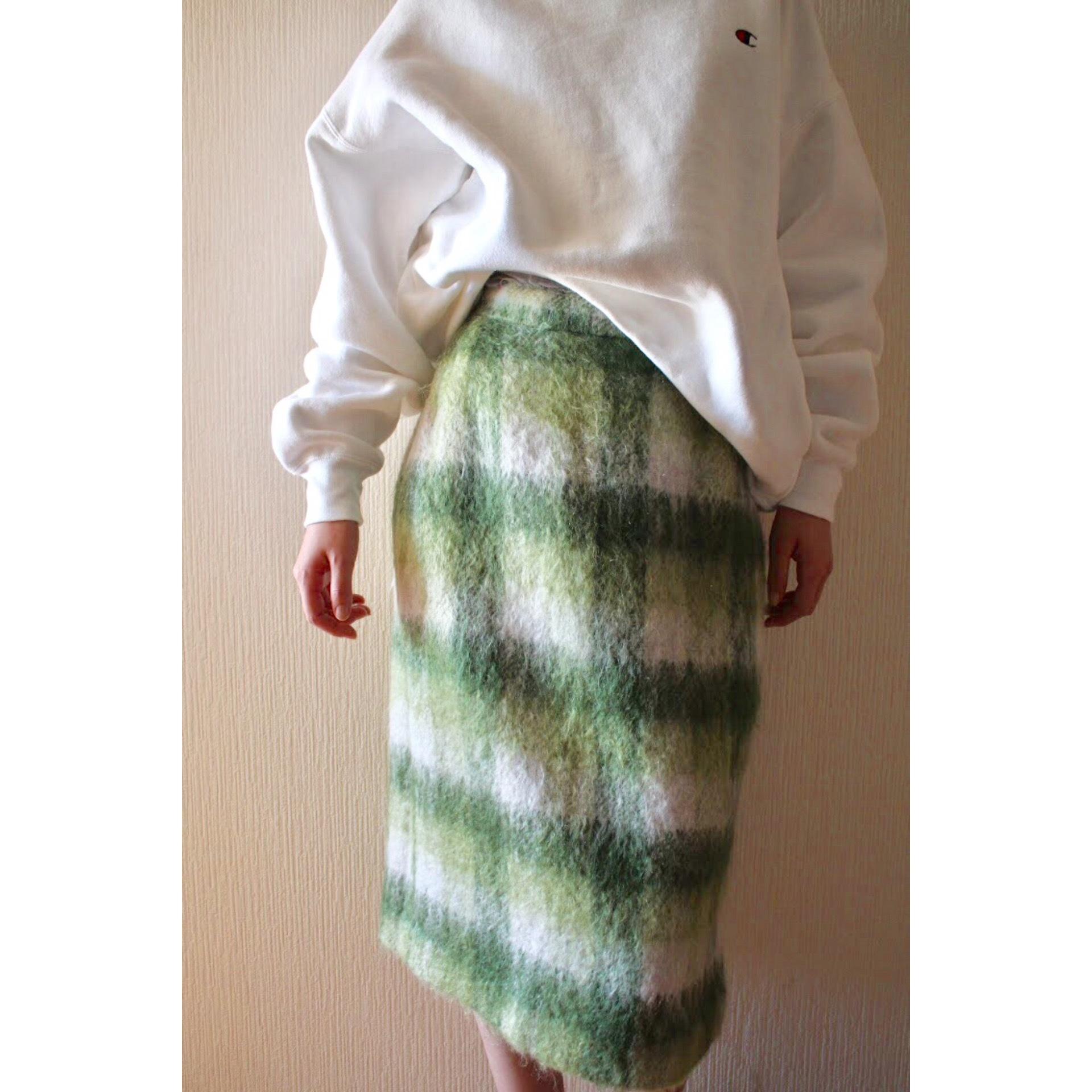 Vintage check mohair skirt