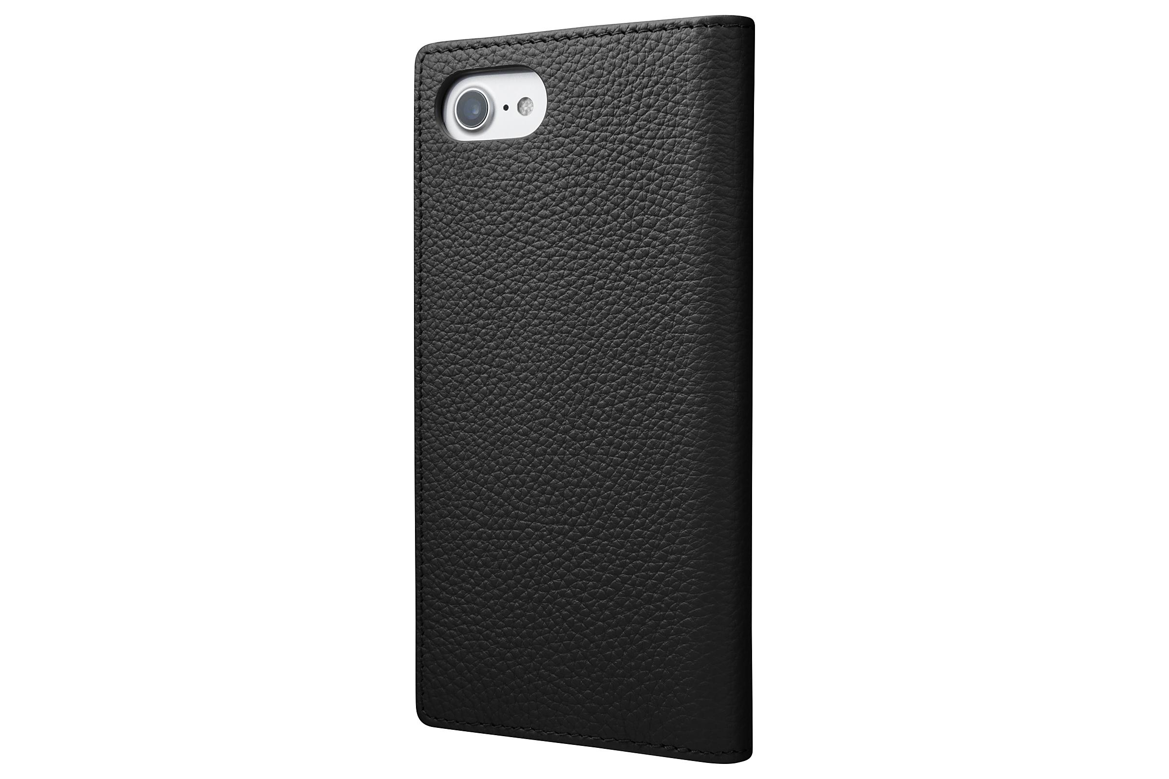 GRAMAS Shrunken-calf Full Leather Case for iPhone 7(Black) シュランケンカーフ 手帳型フルレザーケース GLC646BK - 画像2