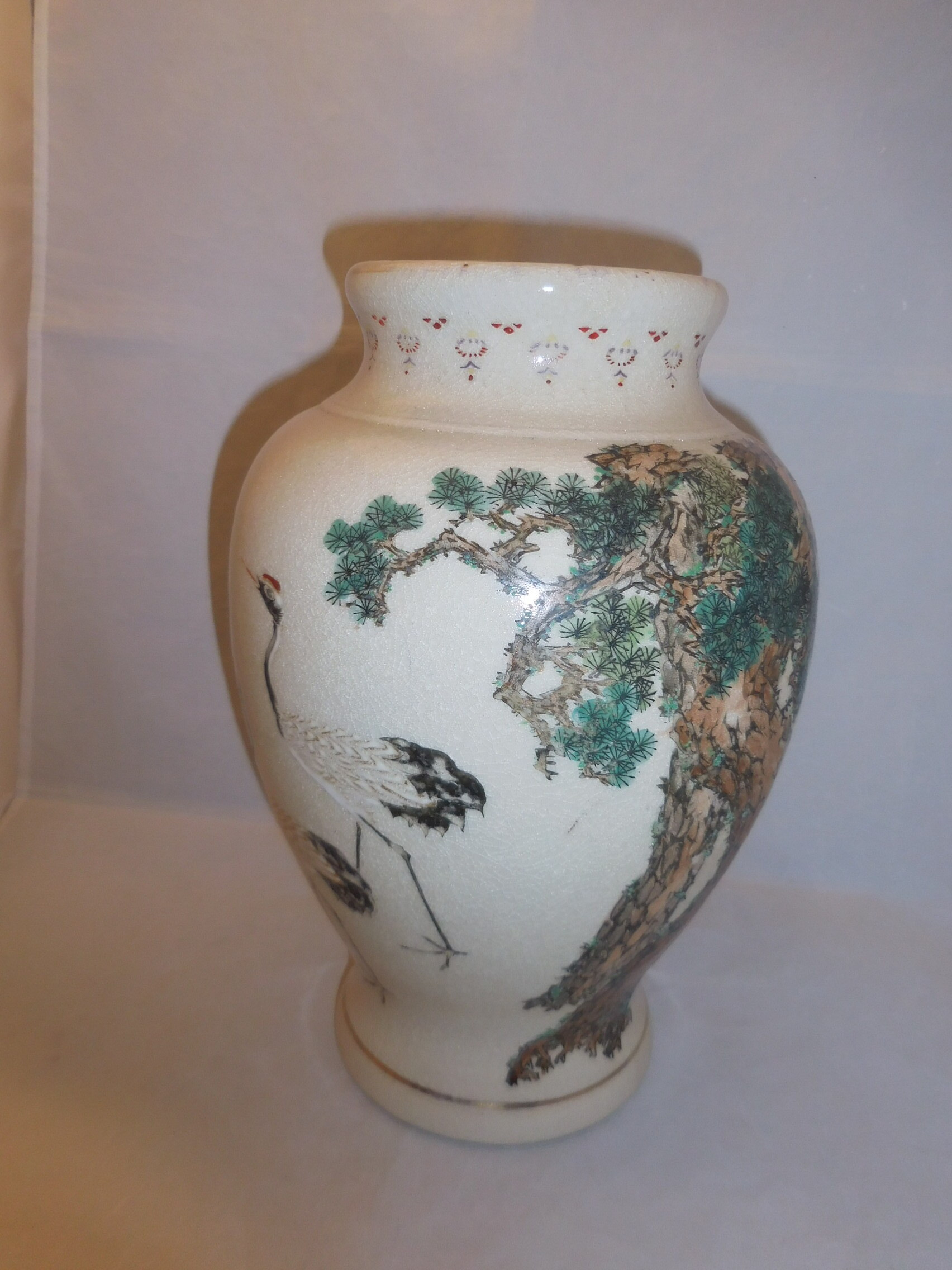 薩備松鶴花器Satsuma pottery vase(Hirota kiln)