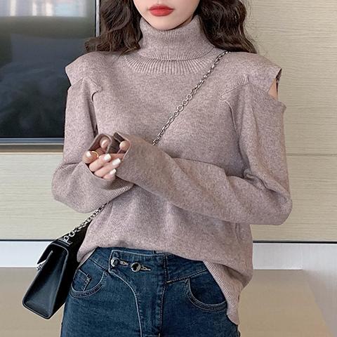 【tops】無地ハイネックシンプル合わせやすいセーター24927616