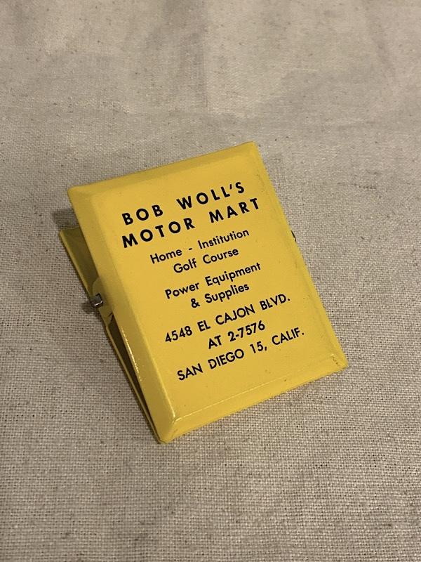 """ADVERTISING MEMO CLIP """" BOB WOLL`S MOTOR MART """""""