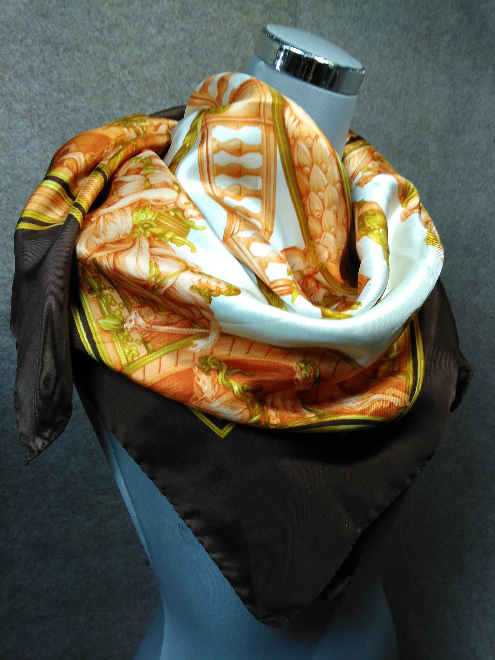 ランセル LANCEL 大判 スカーフ シルク イタリア製 mu206s