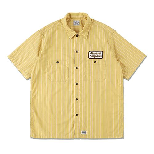 STANDARD CALIFORNIA #SD T/C Stripe Work Shirt Short Sleeve Yellow
