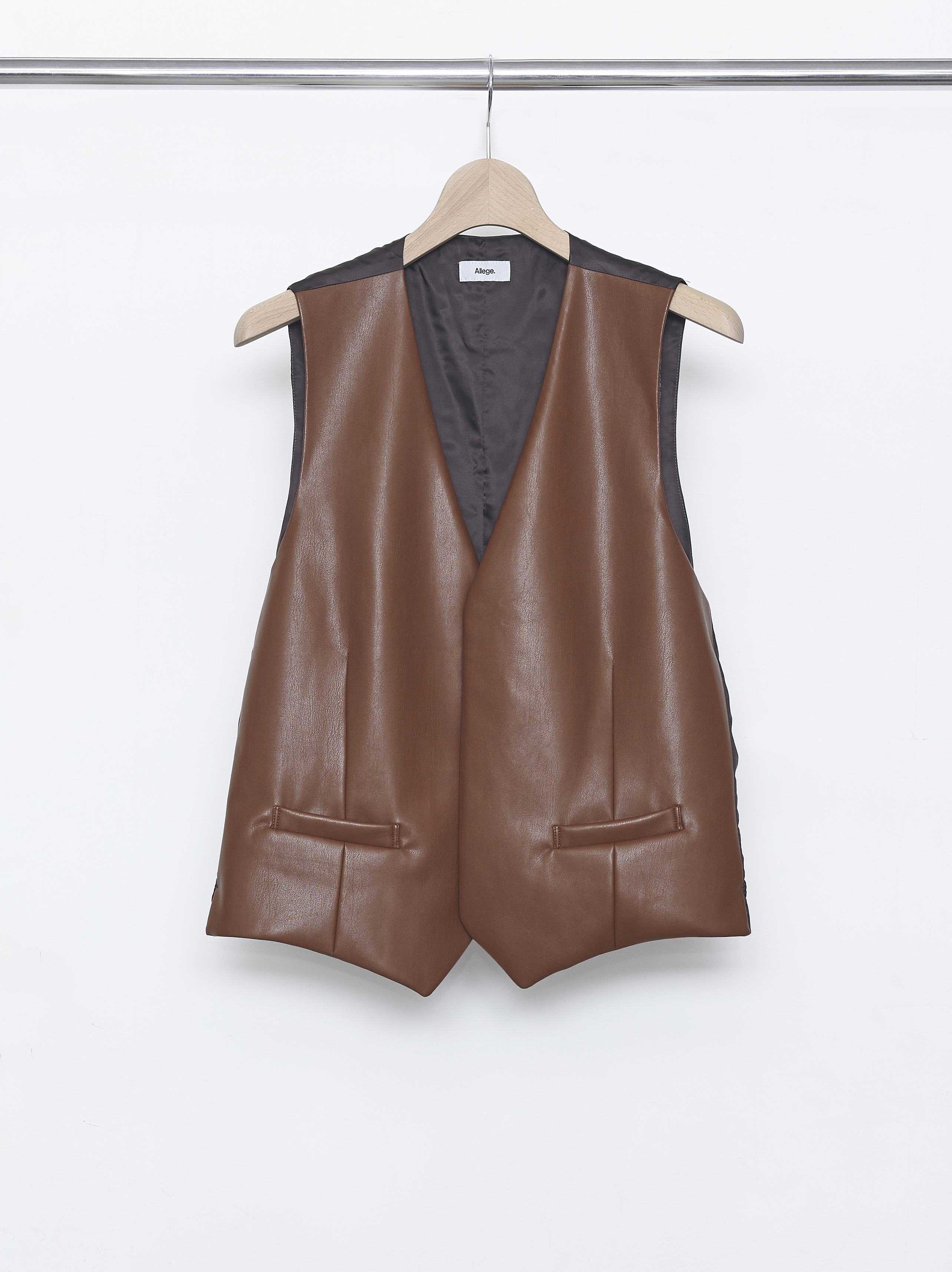 Synthetic Leather Gilet - Brown