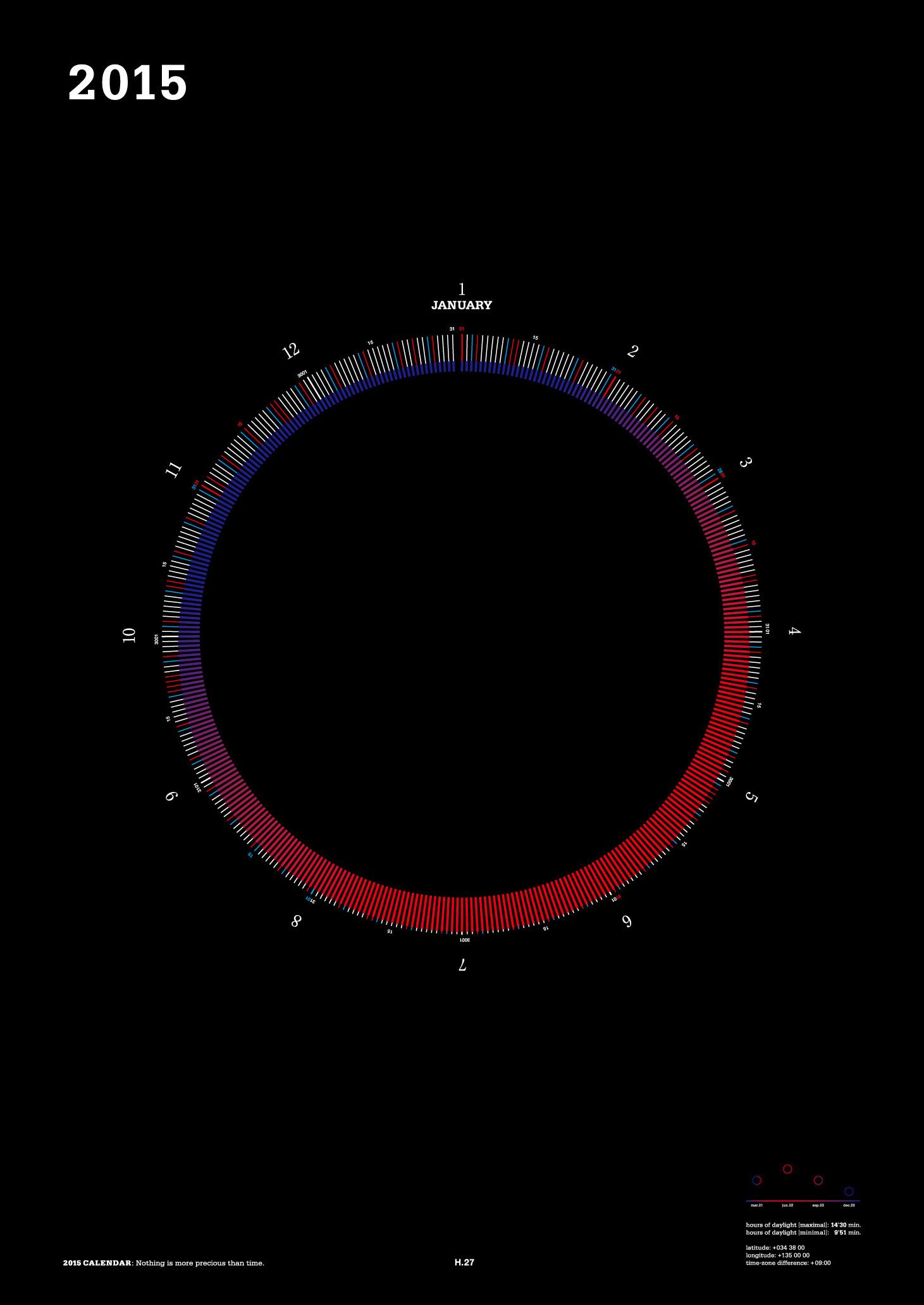 [B2] 2015 mi e ru サークルカレンダー/ブラック