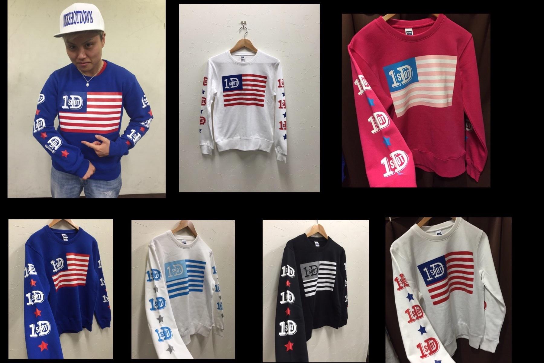 ONESHOTDOWN USA国旗デザイン クールネック スウェット - 画像5