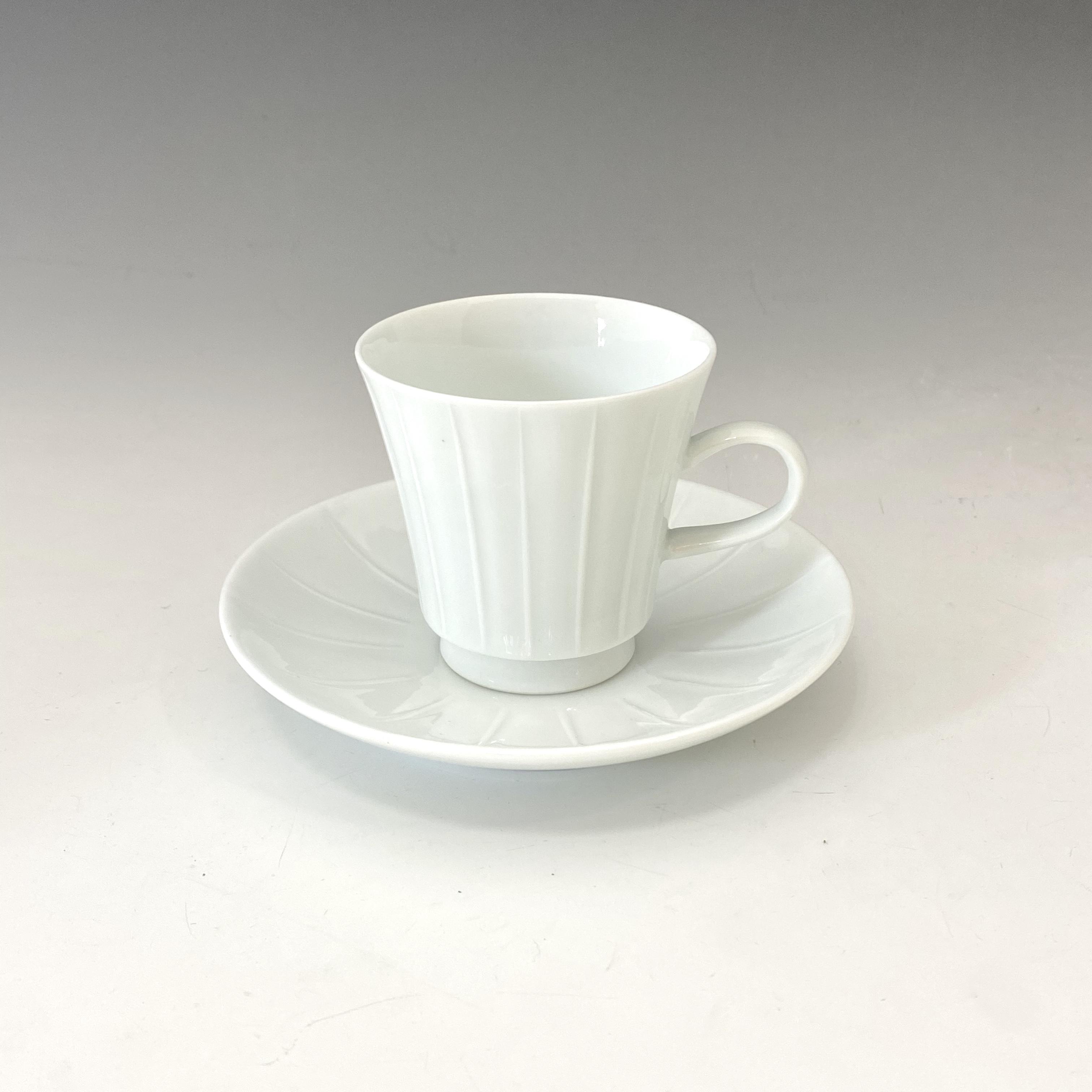 【中尾恭純】白磁線彫エスプレッソ碗皿