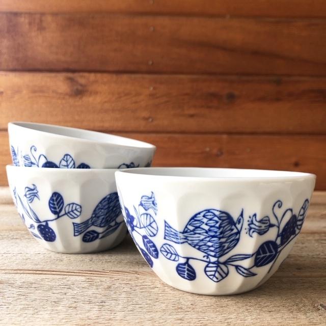 Matsuo Miyuki Ripple bowl Bird plants 松尾ミユキ陶器ボウル