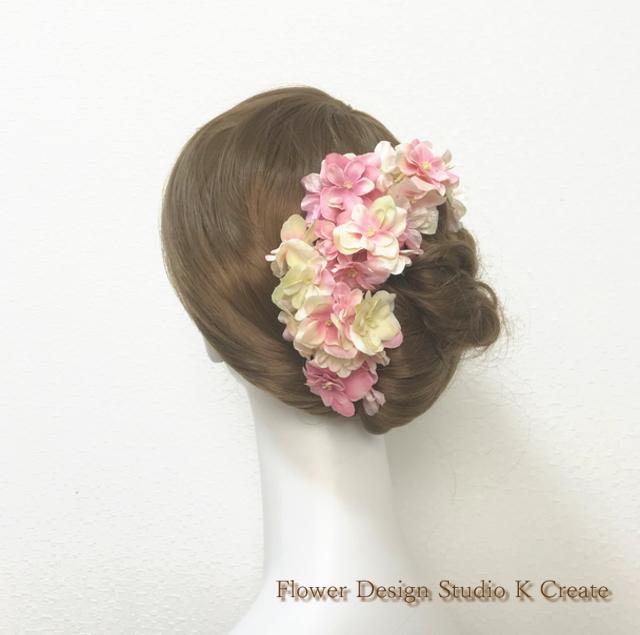 ウェディングに♡クリームモーブの紫陽花のヘッドドレス(7本セット)