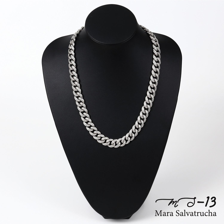 【MS-13】K18GP マイアミキューバン リンク ネックレス チェーン[長さ:50cm](ホワイトゴールド)