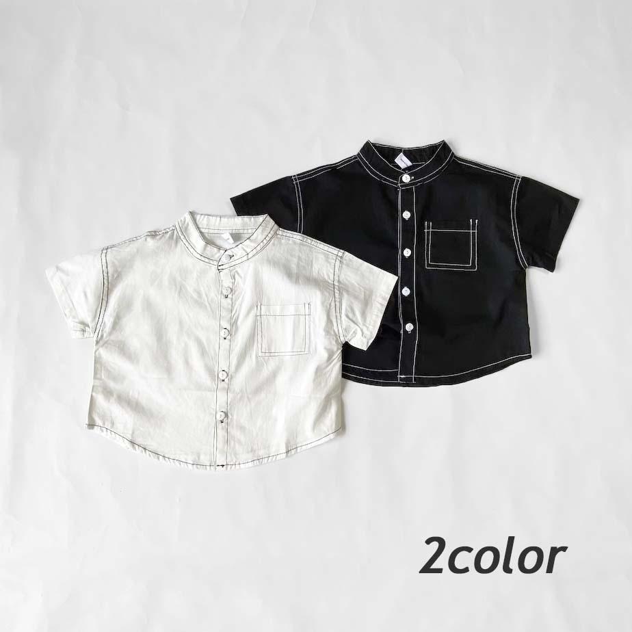 ステッチデザインノーカラーシャツ【T125】