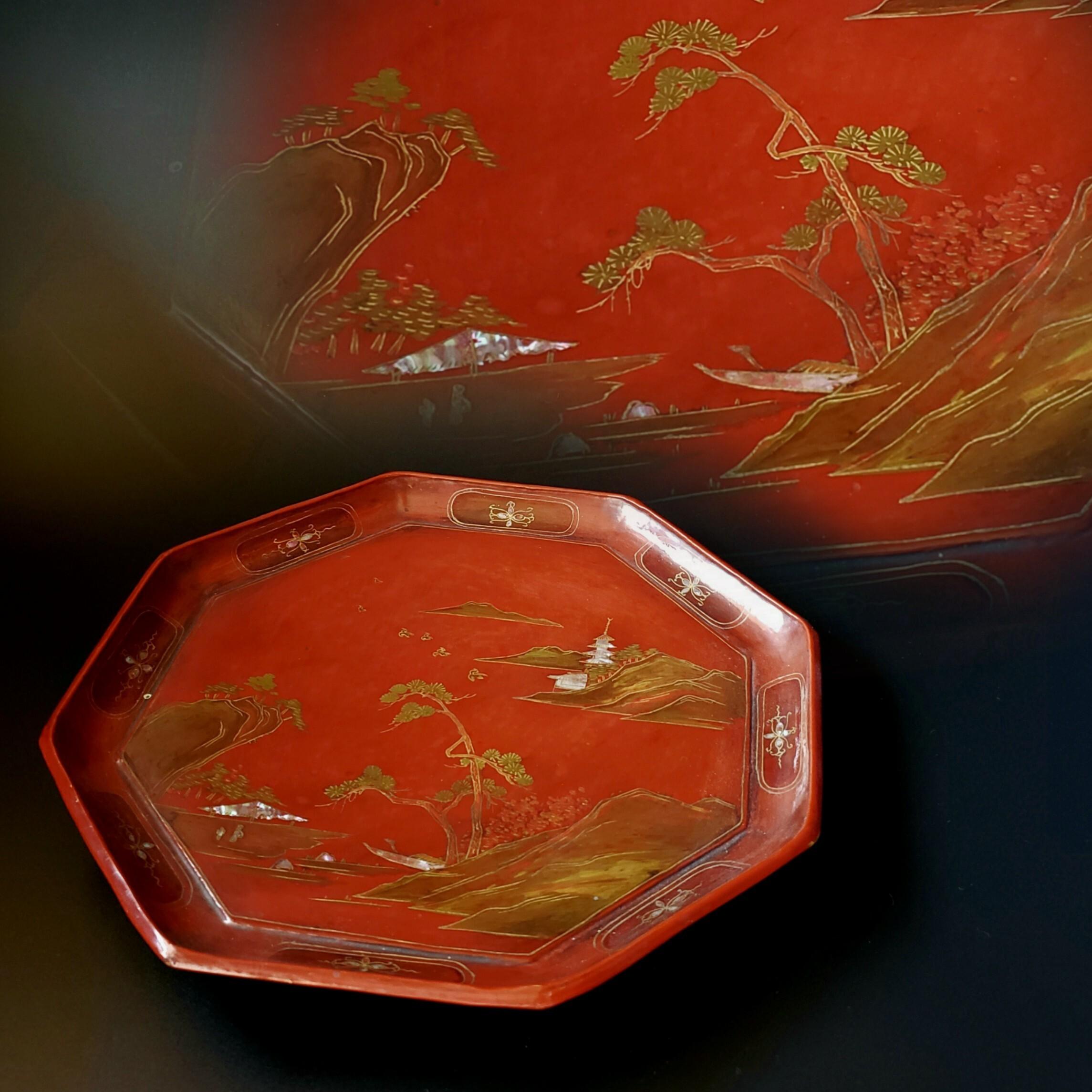 古美術品 琉球漆器 楼閣山水人物図 箔絵八角台付盆 18世紀 骨董 アンティーク