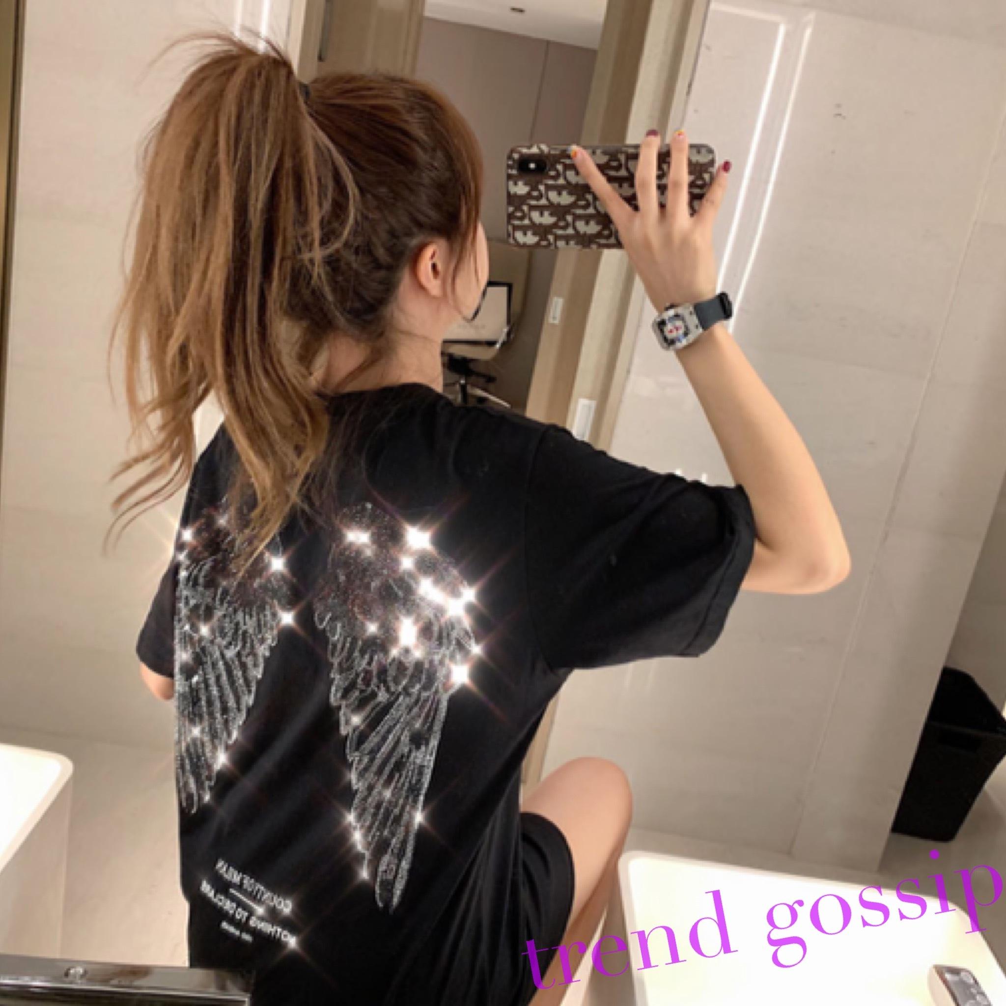 フェザーラインストーンTシャツ/2色展開/S〜XXXL/男女ok/2020SS