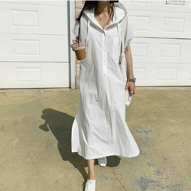 フード付き シャツワンピース シャツドレス シンプル 無地  ソリッドカラー カジュアル Aライン ゆったり  スリット 半袖 デイリーユース ホワイト