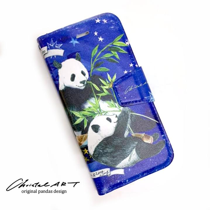 iPhone8.7対応 スマホカバー 「星に願いを柄」パンダデザインシリーズ
