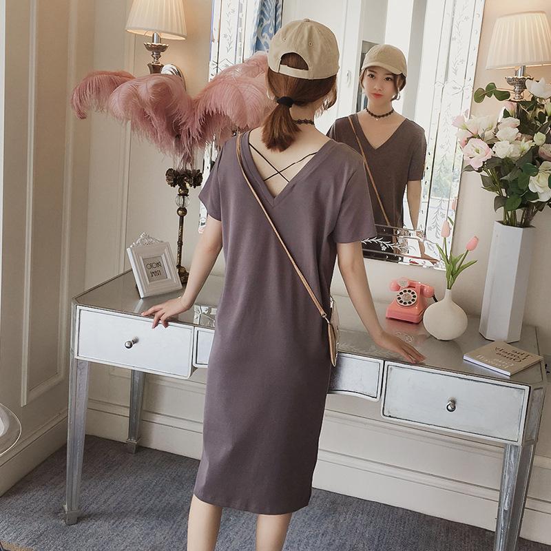 【dress】シンプルVネックゆったりカジュアルワンピース21990252