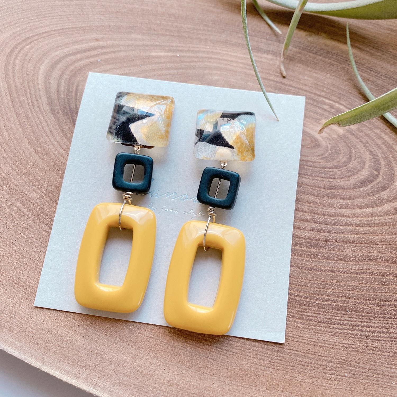 """ Earrings NO.danoan-85″ リバティと辛子色イタリアパーツ"
